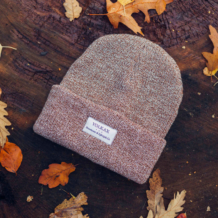 Yolkax Beanie - Heather Oatmeal / White