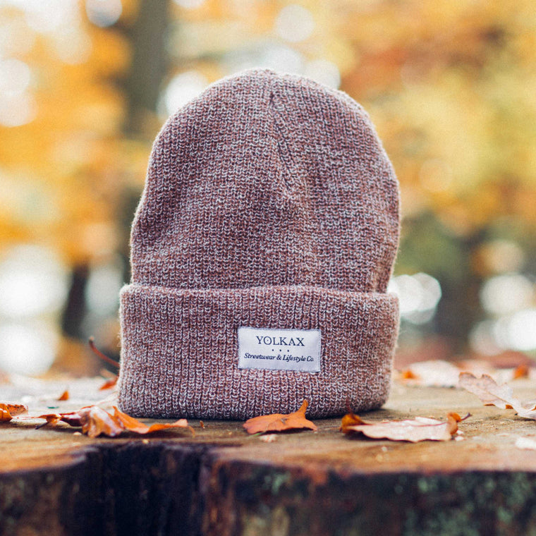 Yolkax Beanie - Heather Oatmeal / White - Yolkax Clothing Beanies, Yolkax Clothing, Yolkax Clothing