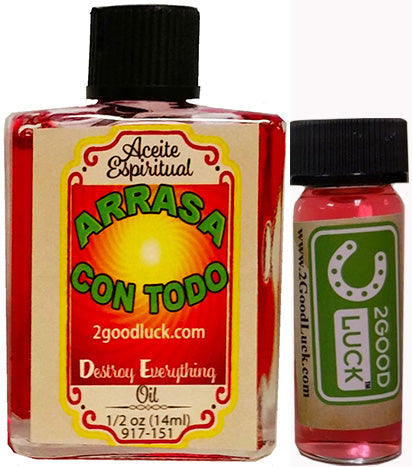 Destroy Everything, Spiritual Oil With 1 Dram Perfume Set  / Aceite Espiritual Arrasa Con Todo