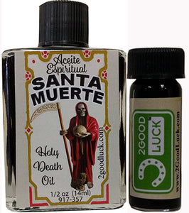 Holy Death Spiritual Oil  With 1 Dram Perfume Set / Aceite Santa Muerte