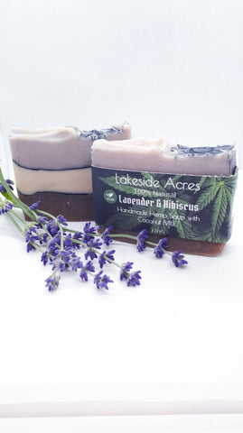 Lavender and Hibiscus Vegan Hemp oil Soap