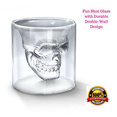 Crystal Skull Shot Glass 2.5 Ounce Double Wall Shotglass For Fun Alcohol Party Drinks