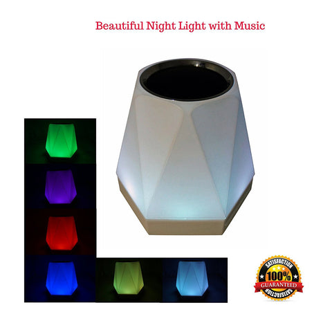 Wireless Speaker Multicolor Night Light, 7 Colors LED Mood Lamp and Music Player