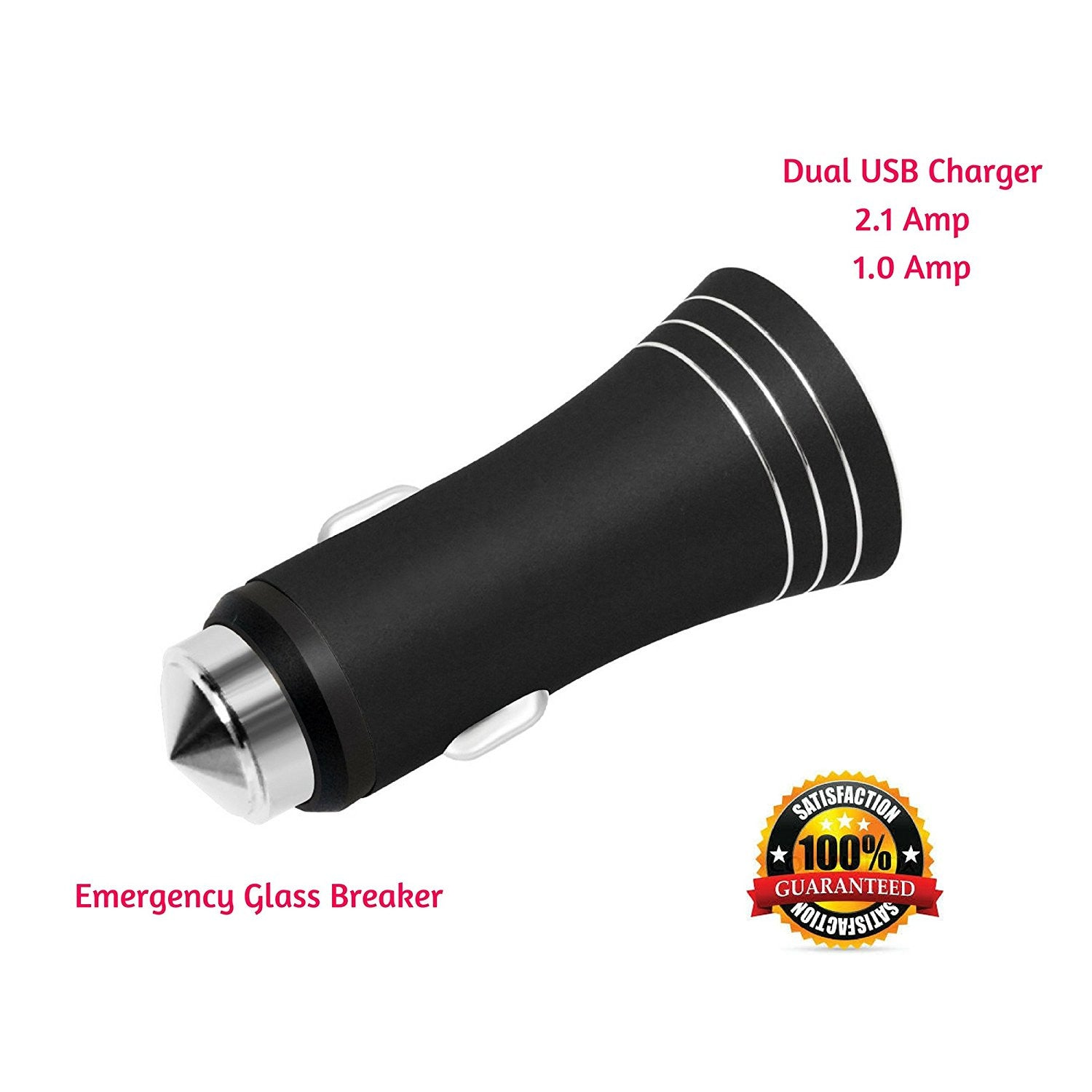 Car Charger with Dual USB Ports for charging and Steel Glassbreaker Hammer for Emergency Escape