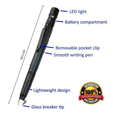 Tactical Pen for Survival and Self Defense  with Tungsten Tip Glass Breaker for Emergency Escape with Bright Push Button LED Flashlight and Ballpoint