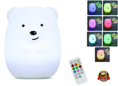 KIds Night Light with Wireless Remote - Portable Multicolor LED Animal Silicone Nursery Light