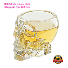 Crystal 3D Skull Shot Glasses - Set of 4 - 2.5 Ounce Fun Pirate Head Shotglass for Alcohol Party Drinks - Vodka Scotch Whiskey Wine Beer - with Gift Box