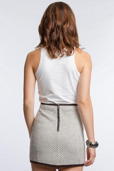 Herringbone Jacquard Mini Skirt