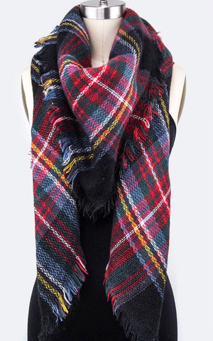 Red & Navy Plaid Scarf