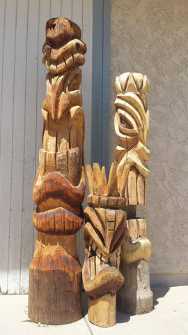 LARGE TIKI WOOD CARVING
