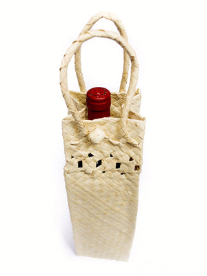 Natural Palm Tote - Wine
