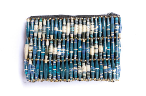 Paper Bead Clutch - Cloudy Skies