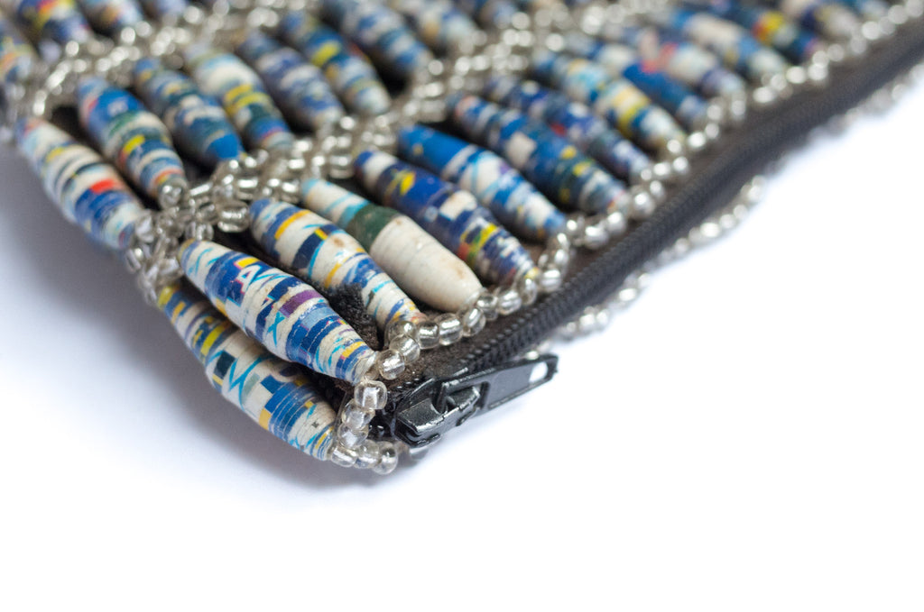 Paper Bead Clutch - Blue Marble