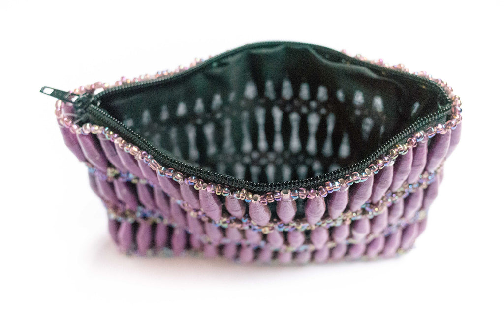 Paper Bead Clutch - Tropical Orchid