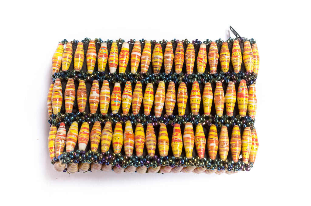 Paper Bead Clutch - Sunset