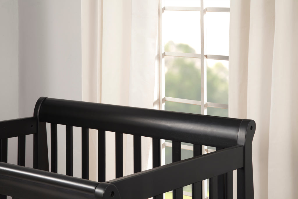 M5598E,Kalani 2-in-1 Mini Crib and Twin Bed In Ebony Black