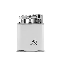 WHITE, FLINT-FIRED, DOUBLE JET-FLAME LIGHTER