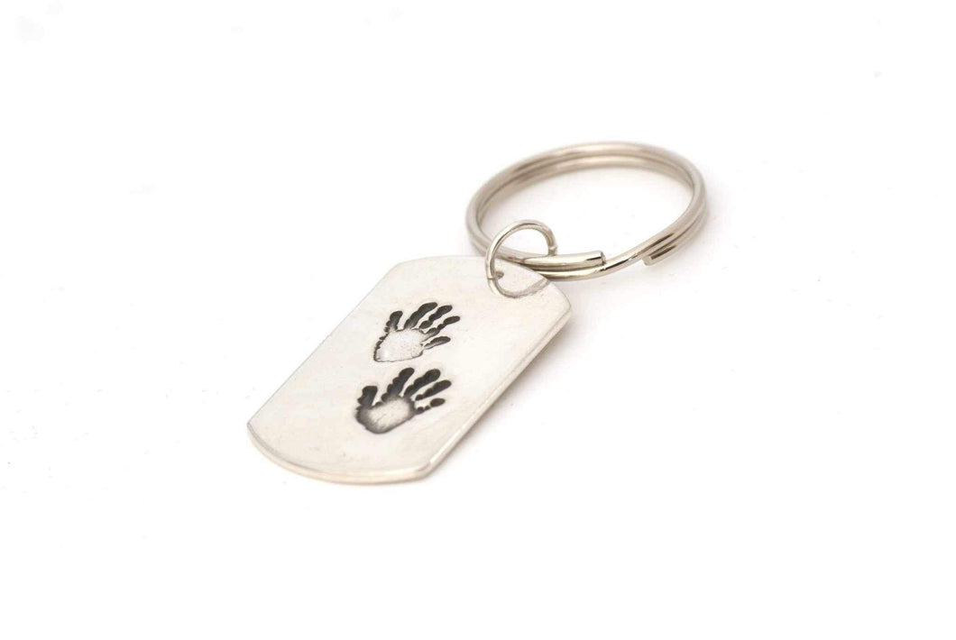 Dog Tag Handprint Keepsake Keychain - Handprint Jewelry