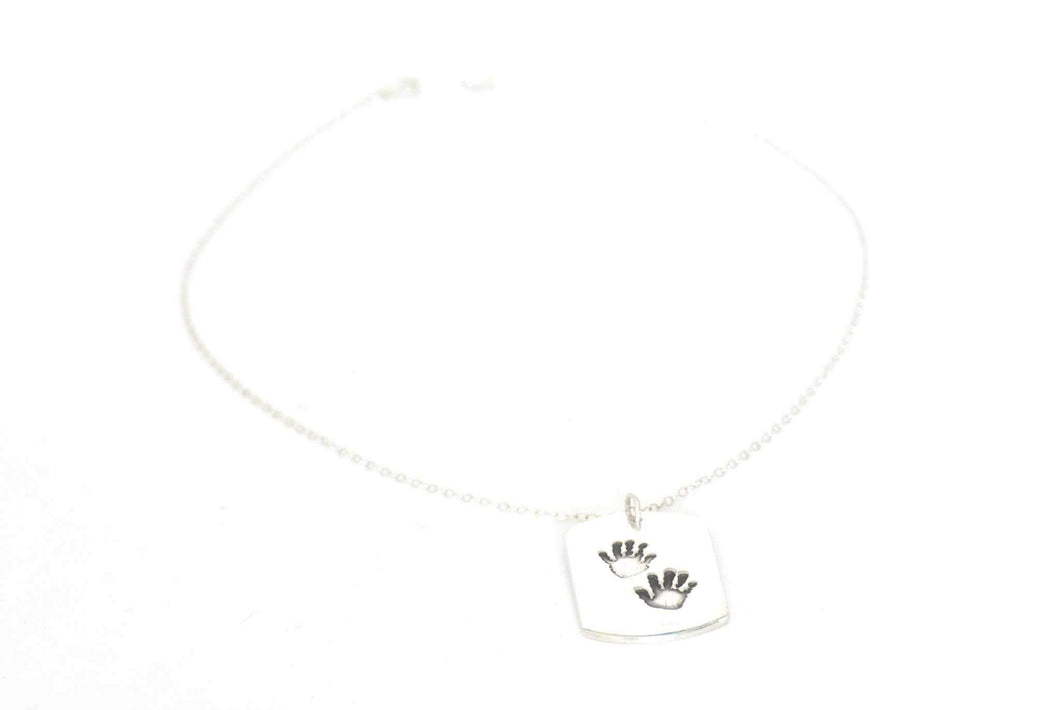 Dog Tag Handprint Necklace - Handprint Jewelry