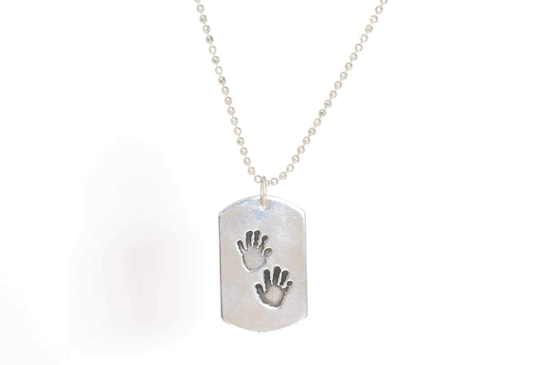 Dog Tag Handprint Necklace on Ball Chain - Handprint Jewelry