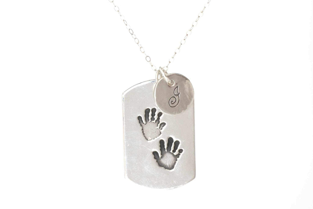 Dog Tag Handprint Necklace With Initial Charm - Handprint Jewelry