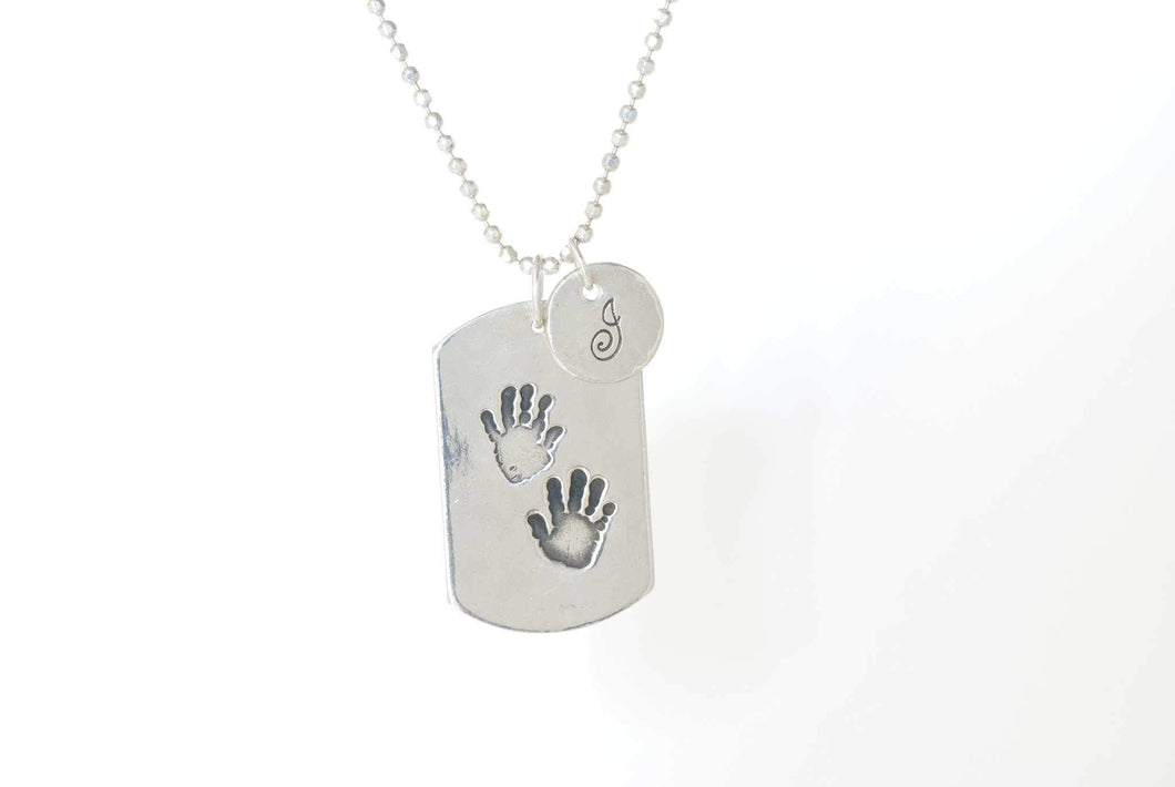 Dog Tag Handprint Necklace With Initial Charm on Ball Chain - Handprint Jewelry