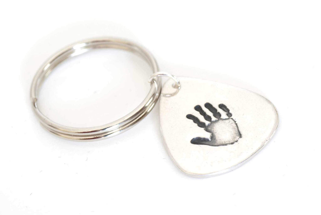 Guitar Pick Handprint Keepsake Keychain - Handprint Jewelry
