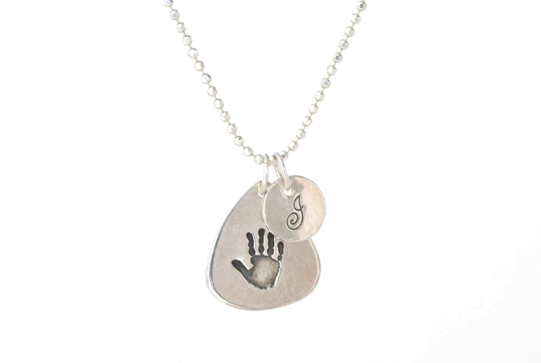 Guitar Pick Handprint Necklace With Initial Charm on a Ball Chain - Handprint Jewelry
