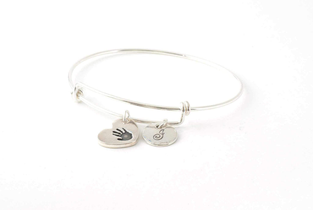 Handprint and Initial Heart Charms on an Adjustable Bangle - Handprint Jewelry