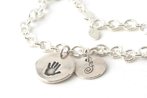 Round Handprint and Initial Charm Bracelet - Handprint Jewelry