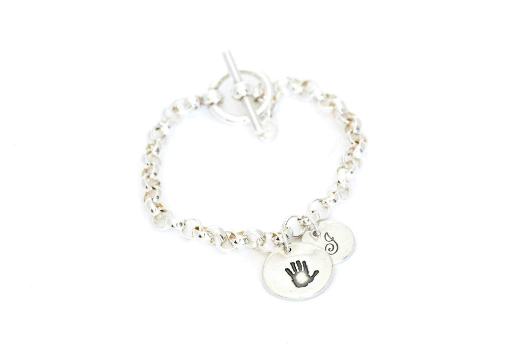 Handprint Charm and Initial Toggle Charm Bracelet - Handprint Jewelry