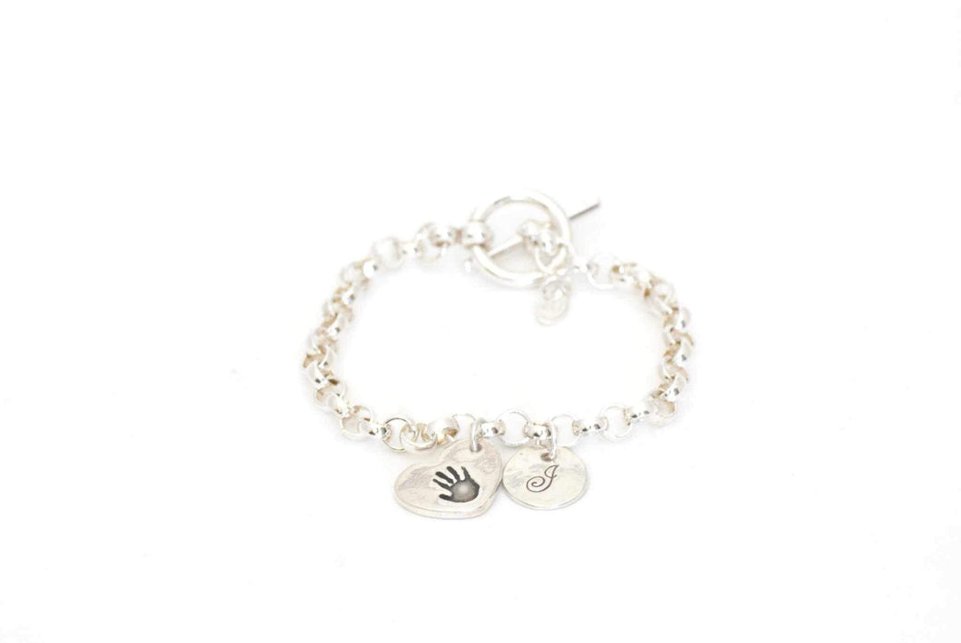 Handprint Heart Charm and Initial Toggle Charm Bracelet - Handprint Jewelry