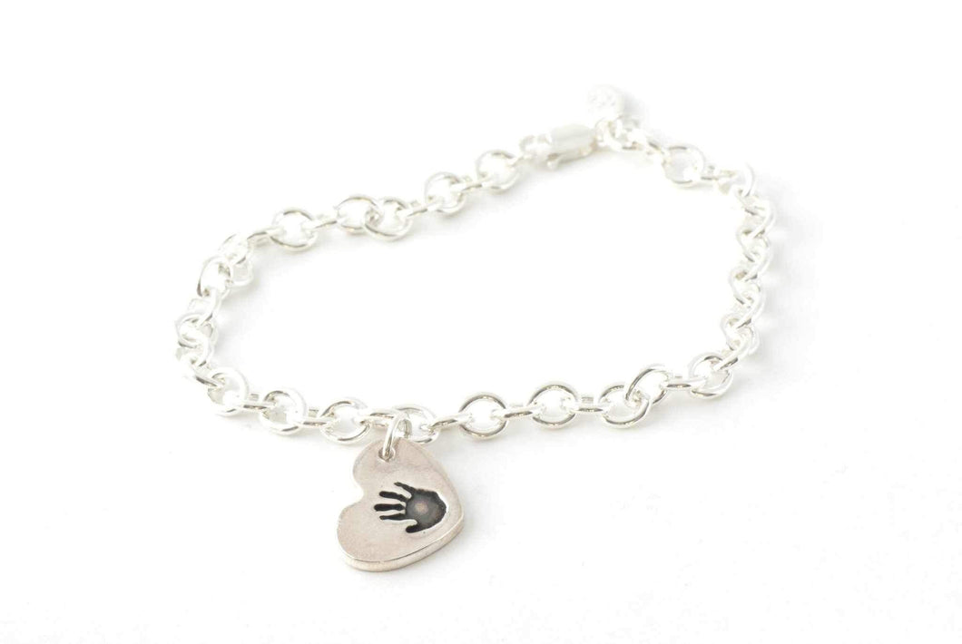 Heart Shaped Handprint Charm Bracelet - Handprint Jewelry