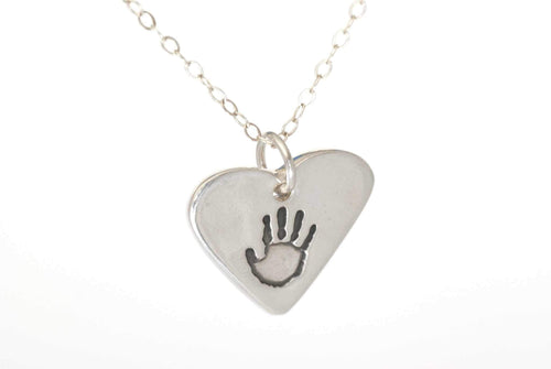 Heart Shaped Handprint Charm Necklace - Handprint Jewelry