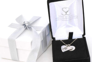Heart Shaped Handprint Charm Necklace with an Initial Charm - Handprint Jewelry