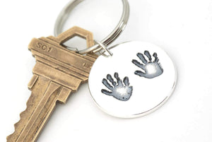 Large Handprint Keepsake Keychain - Handprint Jewelry
