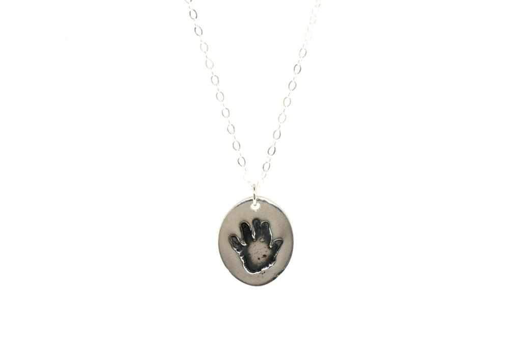 Oval Baby Handprint Necklace | Handprint Jewelry