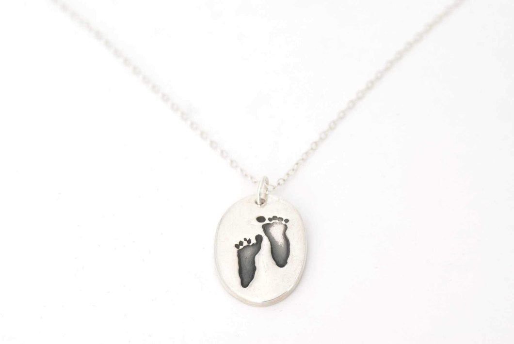 Oval Handprint Charm Necklace - Handprint Jewelry