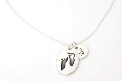 Oval Handprint Charm Necklace with Initial Charm - Handprint Jewelry