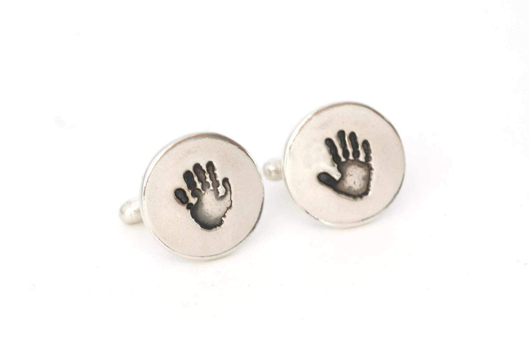 Personalized Handprint Keepsake Cufflinks - Handprint Jewelry