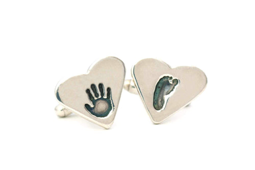 Personalized Handprint Keepsake Heart Cufflinks - Handprint Jewelry