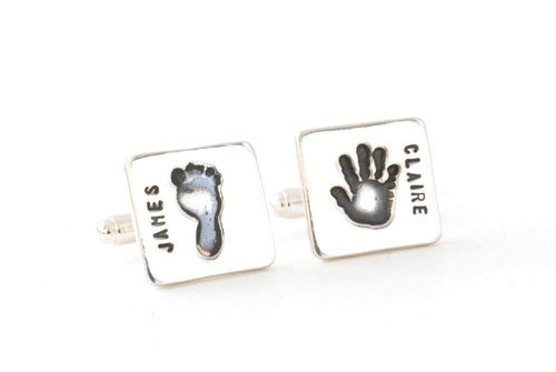 Personalized Handprint Keepsake Square Cufflinks - Handprint Jewelry