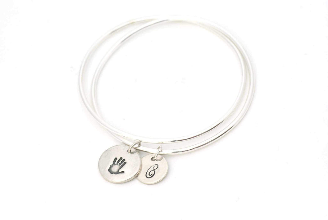 Round Handprint and Initial Charm on an Eternity Charm Bracelet - Handprint Jewelry
