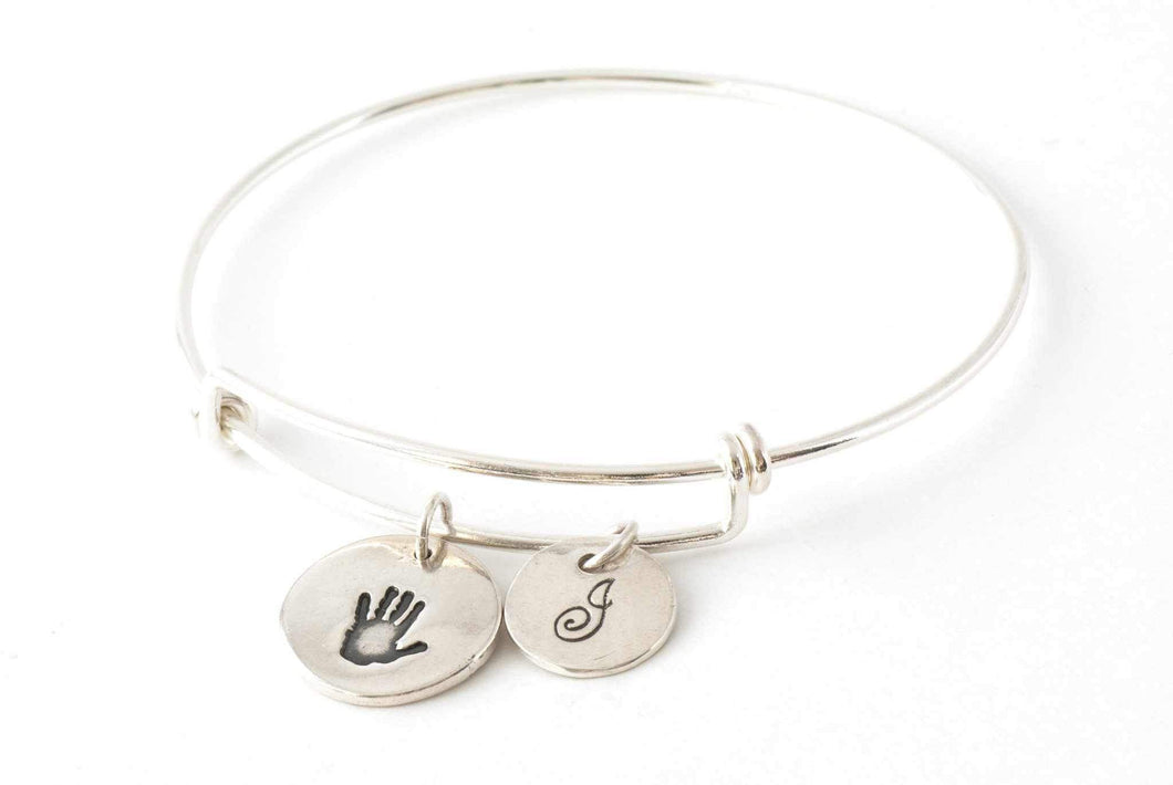 Round Handprint and Initial Charms on an Adjustable Bangle - Handprint Jewelry