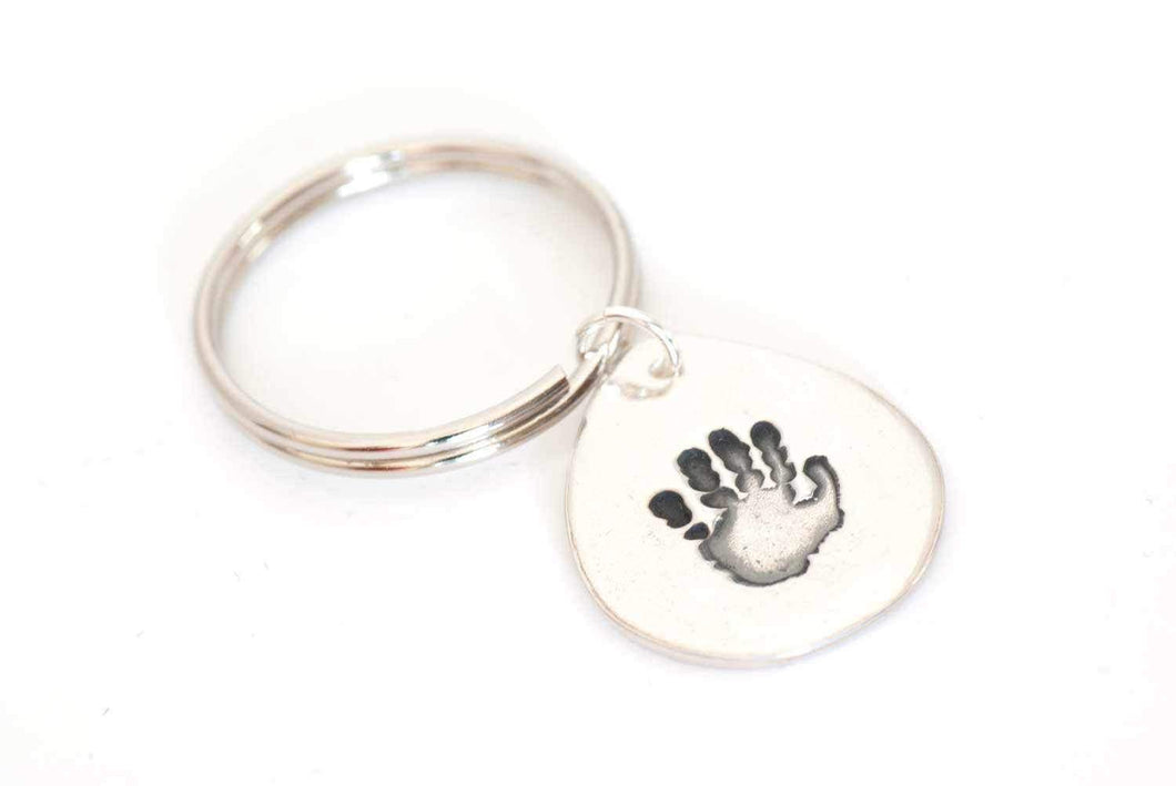 Tear Drop Handprint Keepsake Keychain | Handprint Jewelry