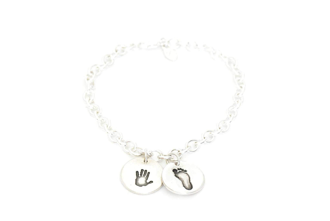 Two Handprint Charms on a Charm Bracelet - Handprint Jewelry