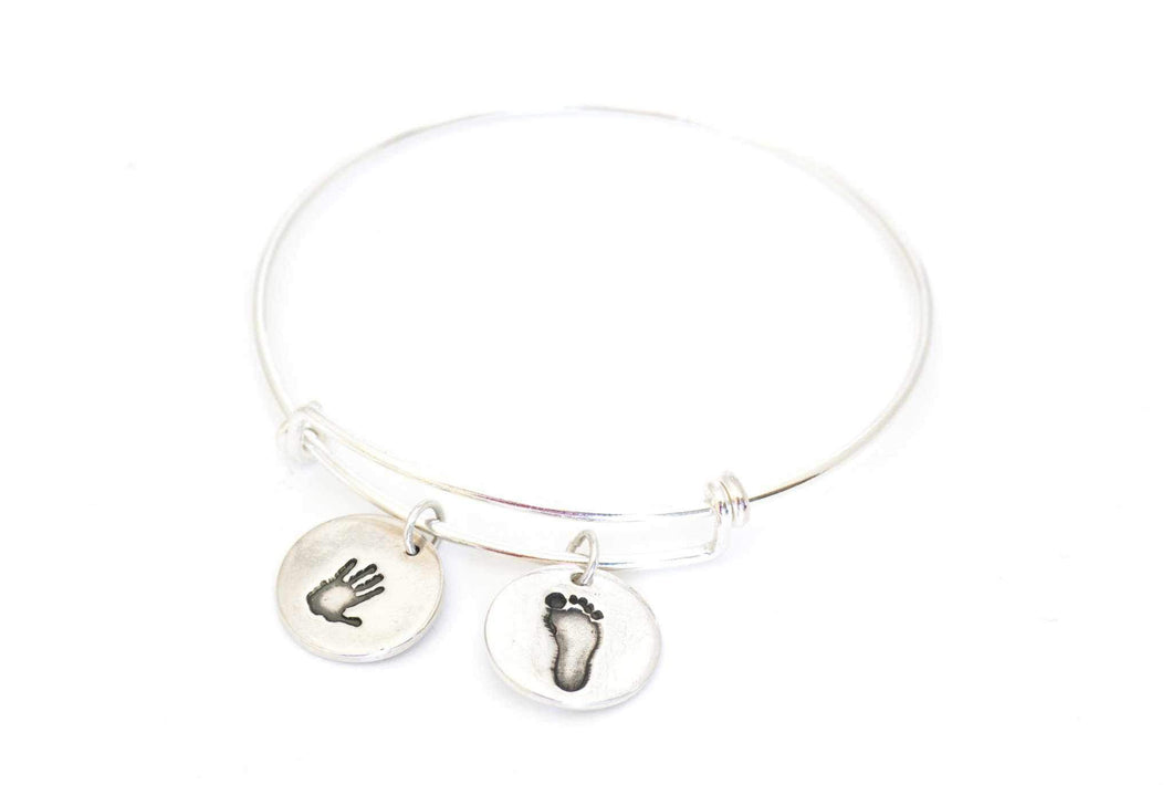 Two Handprint Round Charms on an Adjustable Bangle - Handprint Jewelry