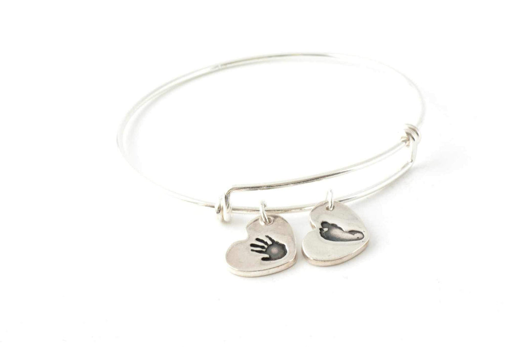 Two Heart Handprint Charms on an Adjustable Bangle - Handprint Jewelry