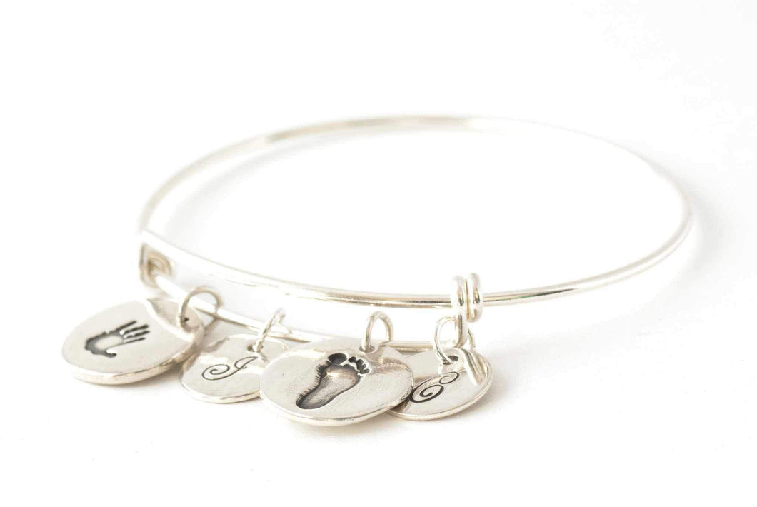 Two Round Handprint and Initial Charms on an Adjustable Bangle - Handprint Jewelry