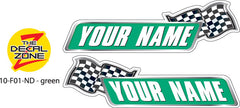 10-F02-ND NAME DECAL green